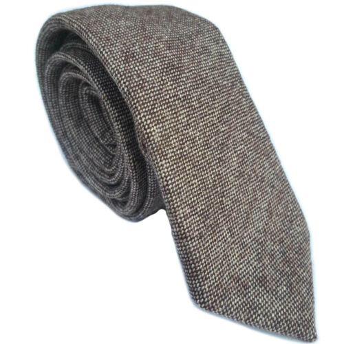 Luxury Gentlemens Country Brown Plain Tie Tweed Woven Wool Style Tartan