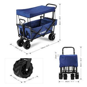 100kg Heavy Duty Folding Garden Trolley Cart Utility Wagon Buggy Shopping Canopy
