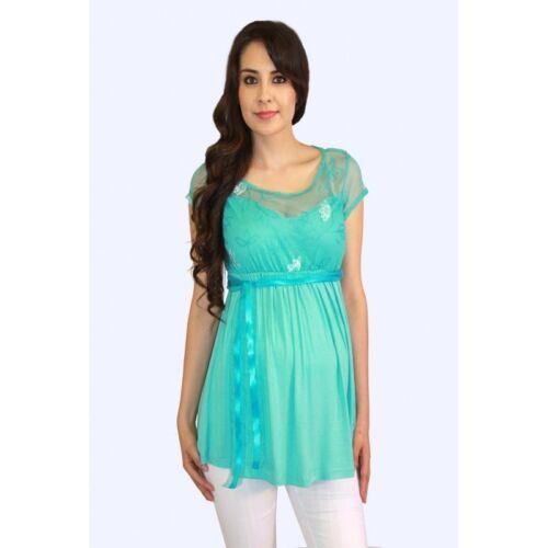 Short Sleeve Maternity Top Lace Blue Teak Aqua Pregnancy Blouse