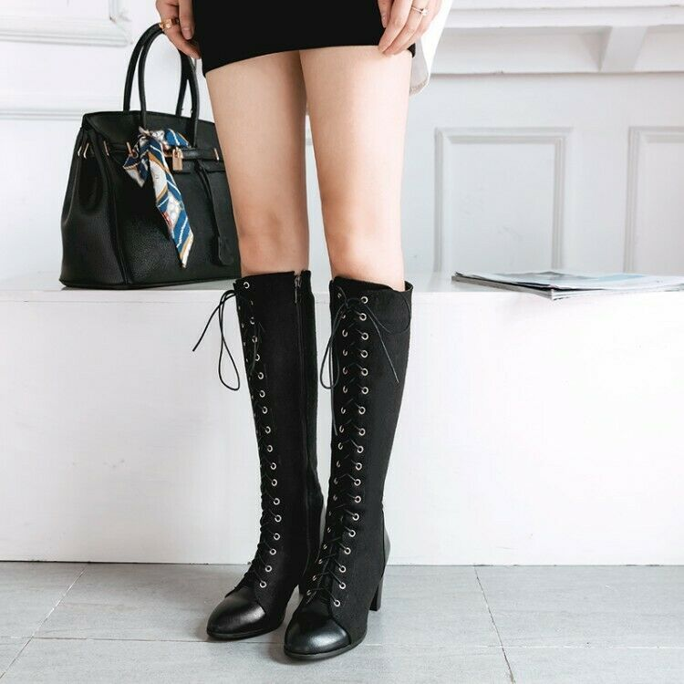 Original Intention Women's Knee High Boots Chunky Heel Boots Fashion shoes Woman