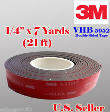 "3M 1/4"" x 21 Ft  7 Yards VHB Double Sided Foam Adhesive Tape 5952 Automotive"