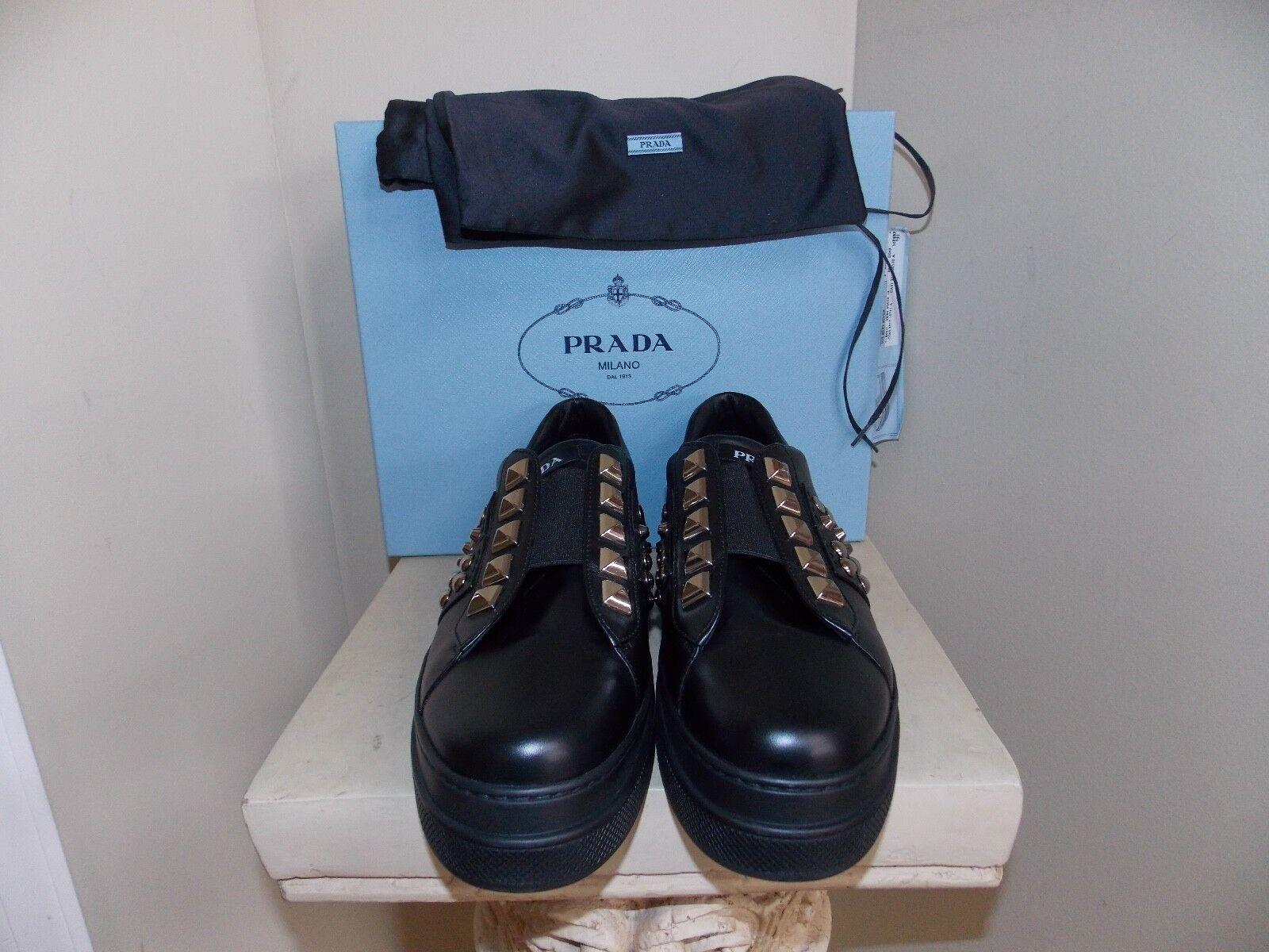 Para Mujeres Nuevo en Caja Negra Prada extrema mujer mujer mujer Tachonado Resbalón en Zapatillas Talla 39.5 (9.5)  Envío rápido y el mejor servicio
