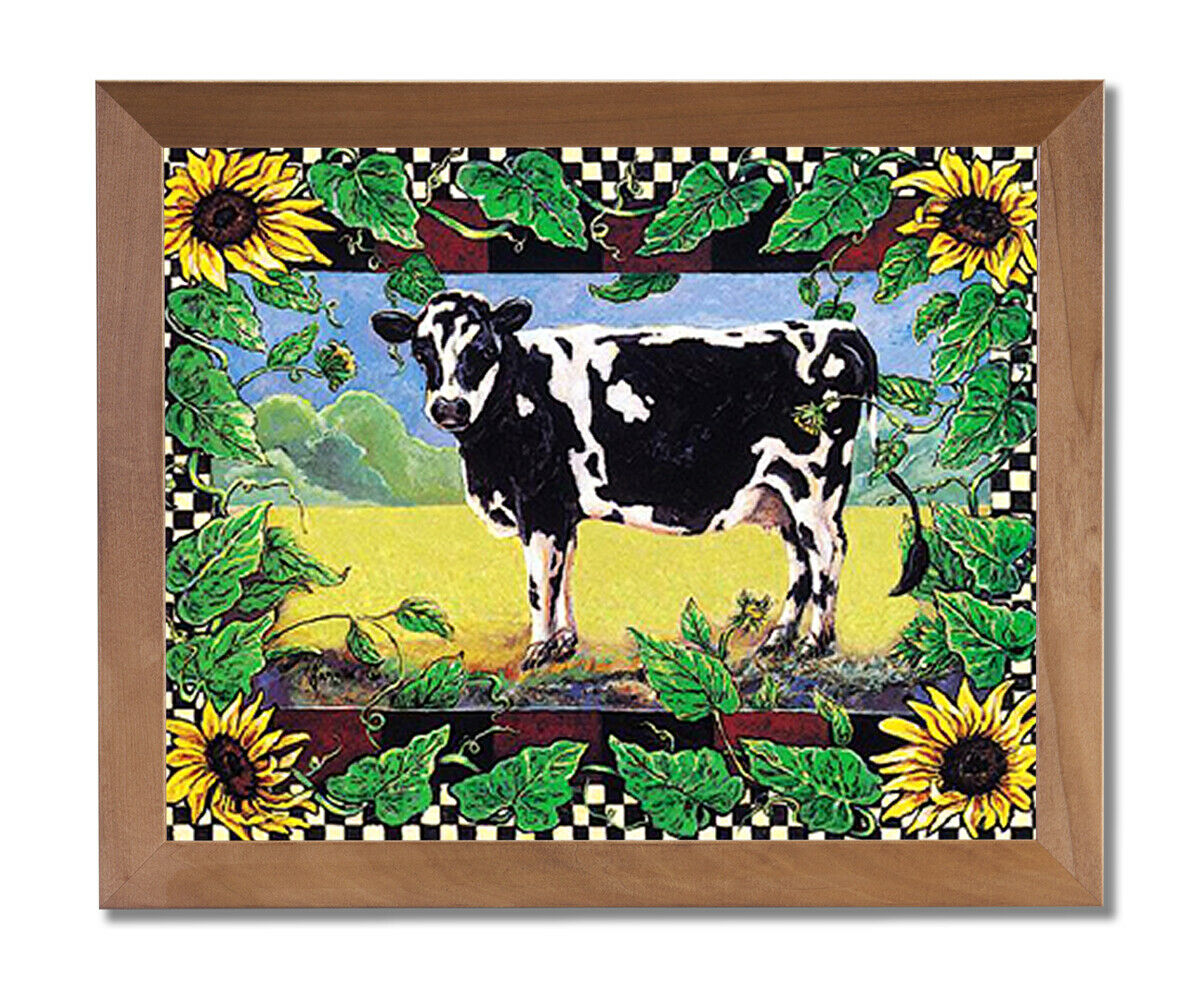 Country Cow Sunflower Folk Wall Picture Honey Framed Art Print
