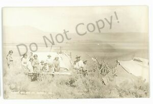 RPPC Paiute Village Indian Native Americana FT BIDWELL CA Real Photo Postcard