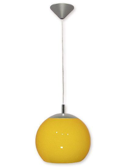 MODERN BALL PENDANT CEILING LIGHT - YELLOW 25cm - SILVER SATIN AND GLASS LED