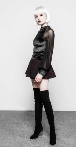 PUNK RAVE Black Velvet Dream Shirt Gothic Samt Top Damen Schwarz Edel Bluse Emo