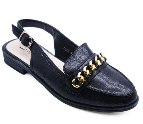 Da Donna Nero Glitter Mocassini casual comode eleganti cinturino alla caviglia con tacco piatto tg UK 3-8