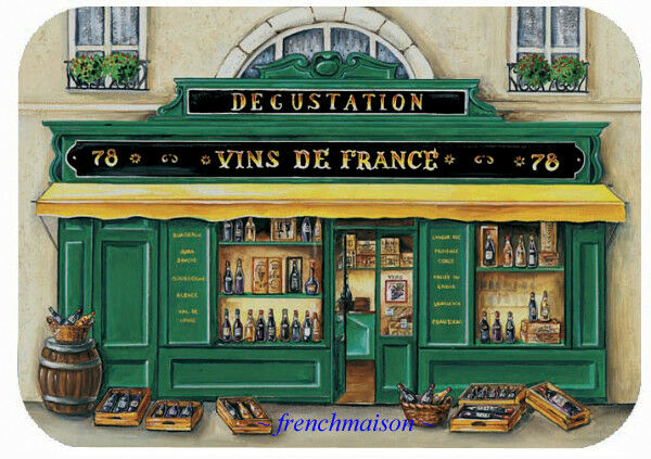 6 Paris French Art VINS DE FRANCE Wine Store Holiday Gift New Plastic Placemats