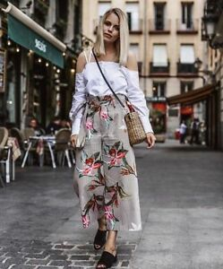 ZARA-FLORAL-PRINTED-STRIPED-POPLIN-CULOTTES-TROUSERS-CROPED-PANTS-XS-M-XL
