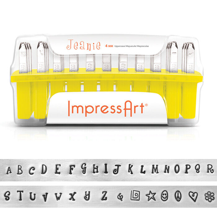 Jeanie Font ImpressArt Uppercase Letter Metal Stamp Set Kit DIY Jewelry Stamping
