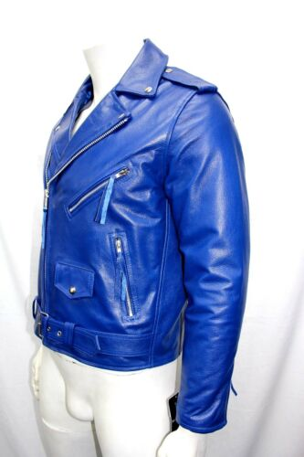 1716d98a Blue Hide Style Jacket Leather Classic Biker Montert Designer Brando Mens  Royal gyvm7Yf6Ib