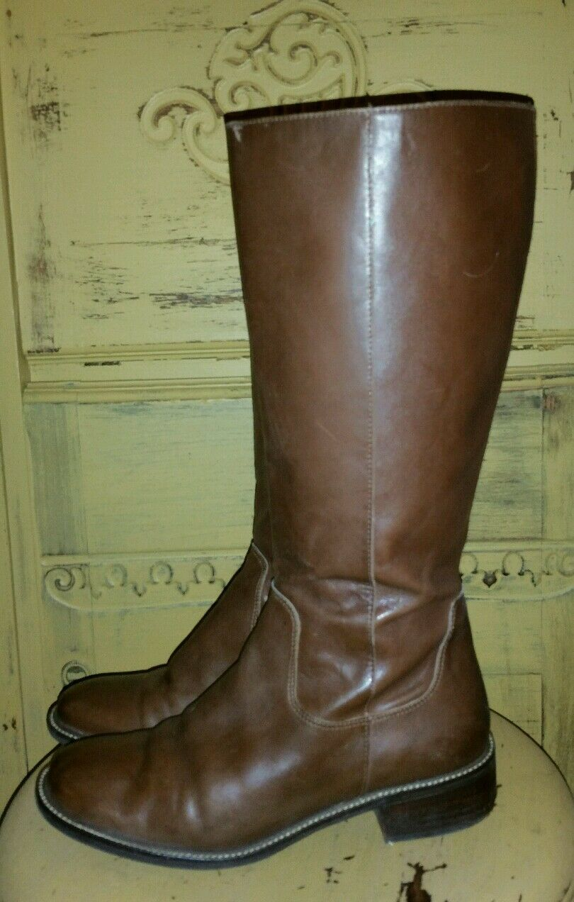 LL BEAN LADIES BROWN LEATHER TALL RIDING BOOTS 7.5 M BRAZIL BOHO ZIP SIDE