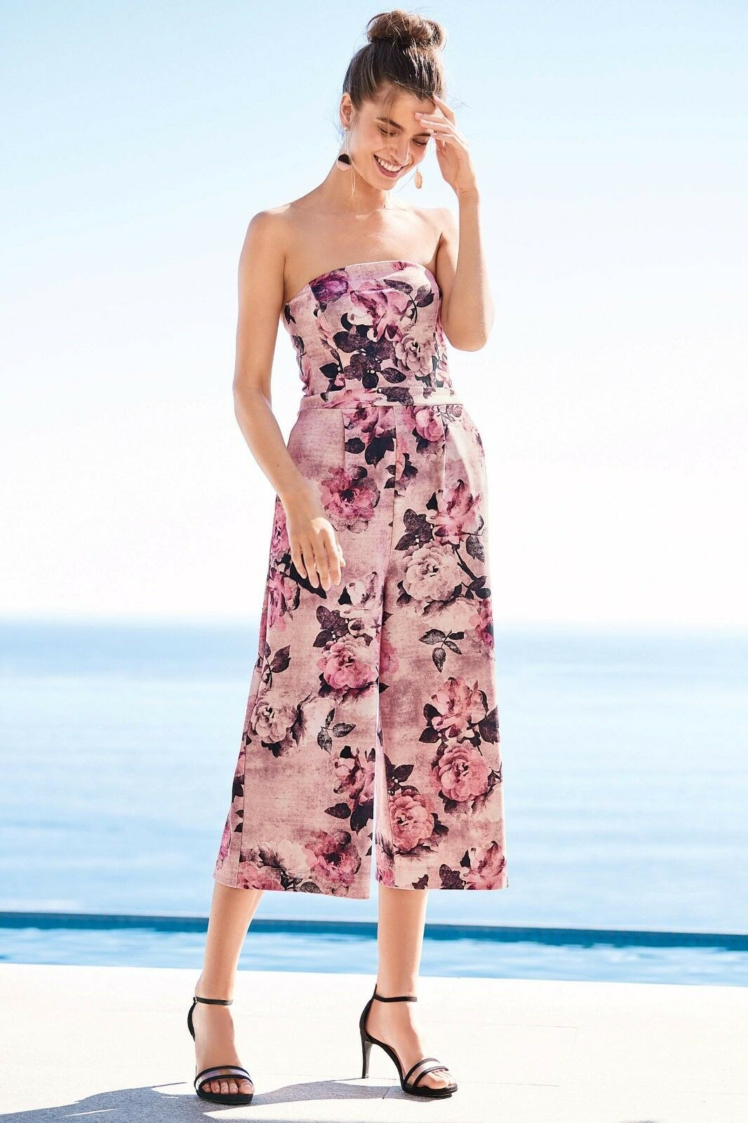 Next Pink pinks Printed Strapless Jumpsuit Size 8 Bnwt