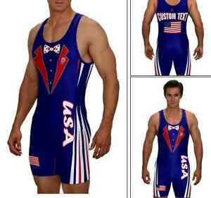 USA wrestling royal tux singlet, includes custom text no minimums
