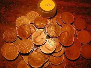1914-P LINCOLN WHEAT CENT PENNY ROLL