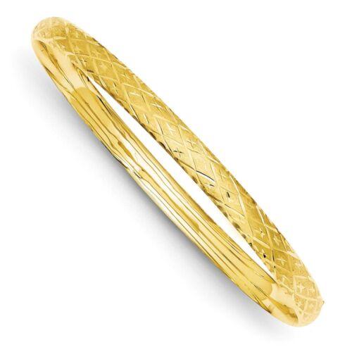 14k 14kt Yellow Gold 3//16 Diamond-cut Fancy Hinged Bangle Bracelet 7in 6mm