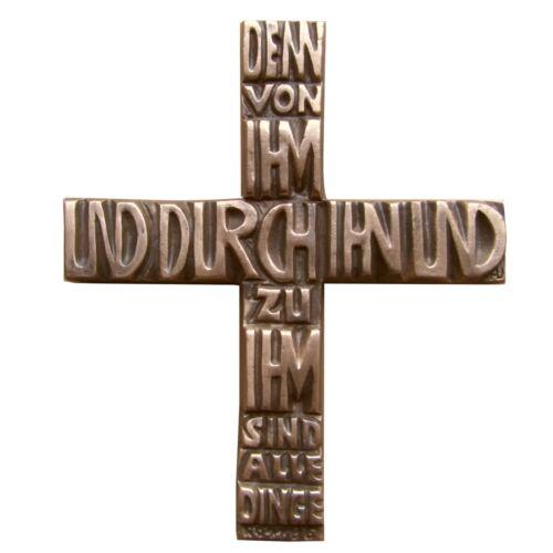Cruz de bronce porque de él y a través de él y a él son todas las cosas 17 cm Skulpturen & Kruzifixe 15 cm