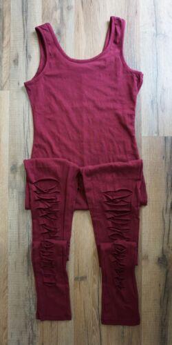 Slashed Leg Stretch Cotton UnitardBlack Burgundy S M L Active Basic USA P2954