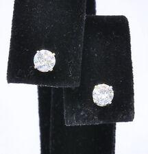 14k White Gold 1 Cttw Round Brilliant Diamond Stud Stick Estate Earrings
