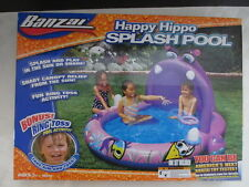 NEW Banzai Happy Hippo Splash Pool w/Shade Canopy and Ring Toss