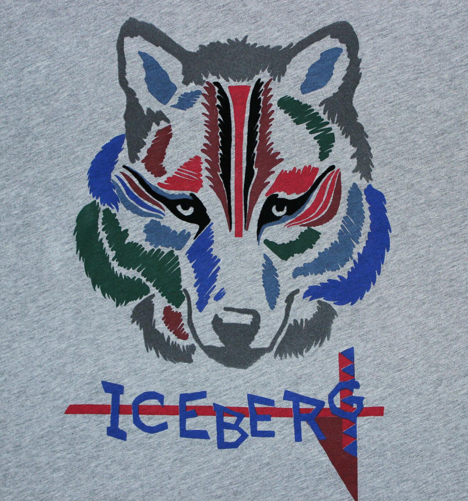 ICEBERG T-hemd mit Wolf Print grau XXL Designer