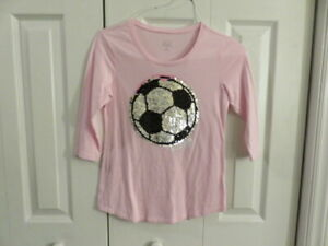 EUC-Justice-Pink-Soccer-Sequence-Shirt-Size-Girls-10-Fit