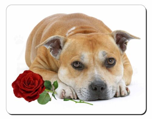 Red Staffie with Rose Computer Mouse Mat Christmas Gift Idea, ADSBT3RM