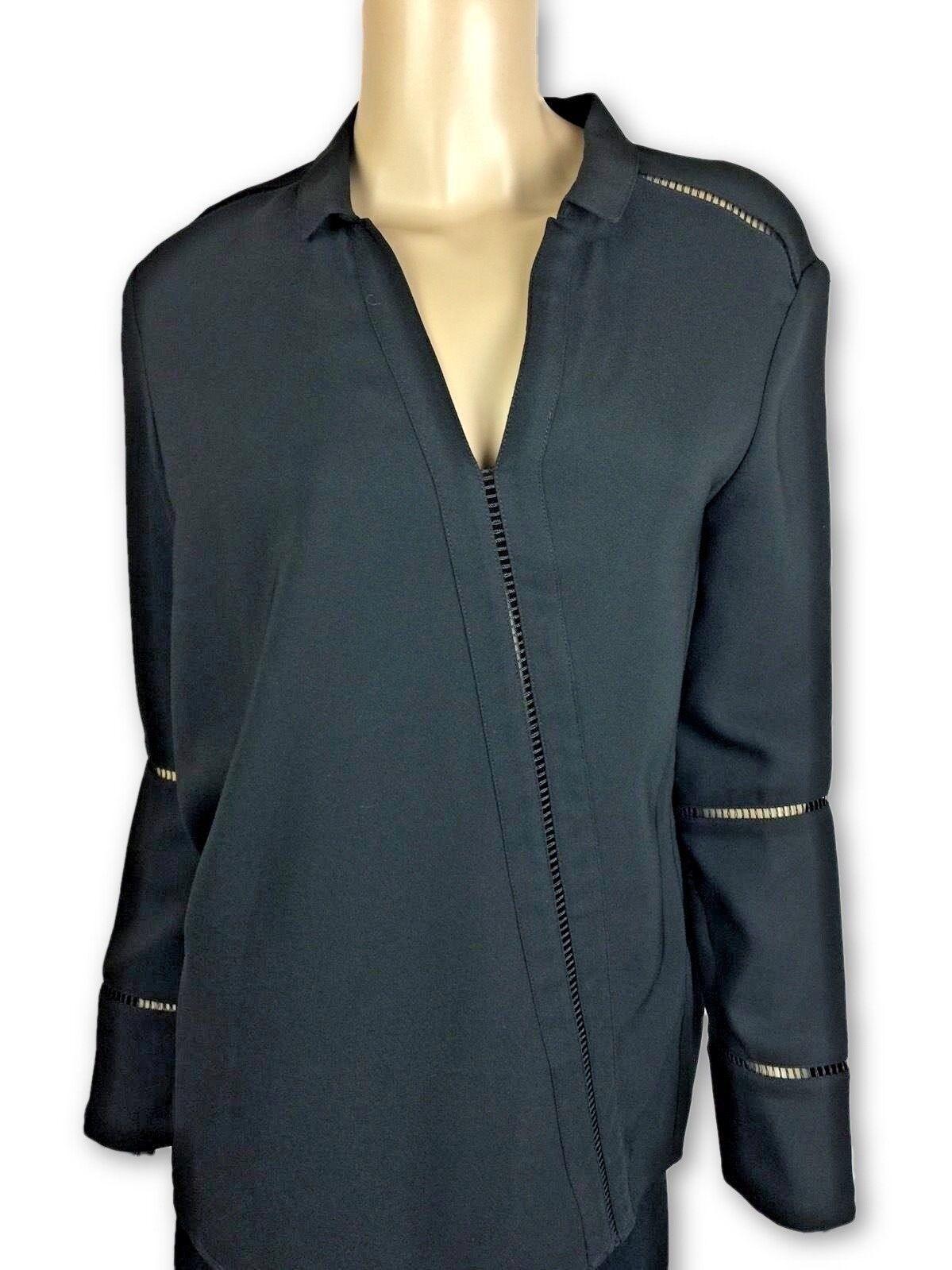 AOTC Größe 0 schwarz Top Blouse Slanted Cut Out Long Sleeve V-NeckMSRP