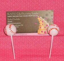 Baseball Cupcake Picks,Plastic,DecoPac,White,Decoration,12 ct.