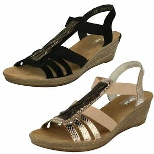 715f3fdf3950 Image is loading Ladies-Black-Gold-Leather-Rieker-Wedge-Summer-Sandals-