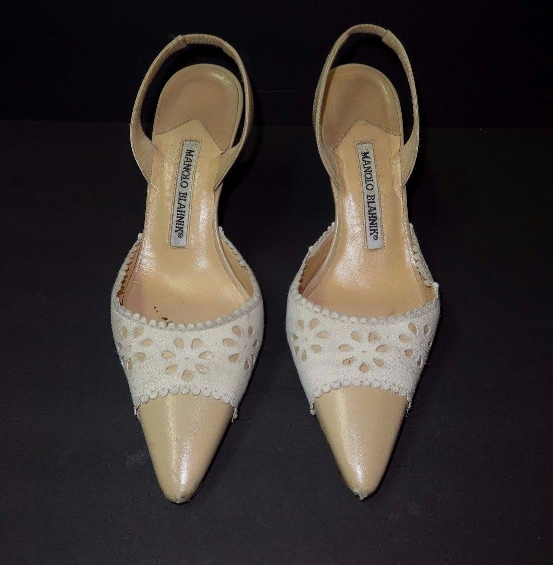Diseñador Diseñador Diseñador Manolo Blahnik señoras Suede & Leather Slingback zapatos 36-1 2 Italia 409b39