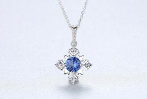 Silberkette-Anhaenger-925er-Sterling-Silber-Blaue-Saphir-VVS-Rhodiniert-Halskette