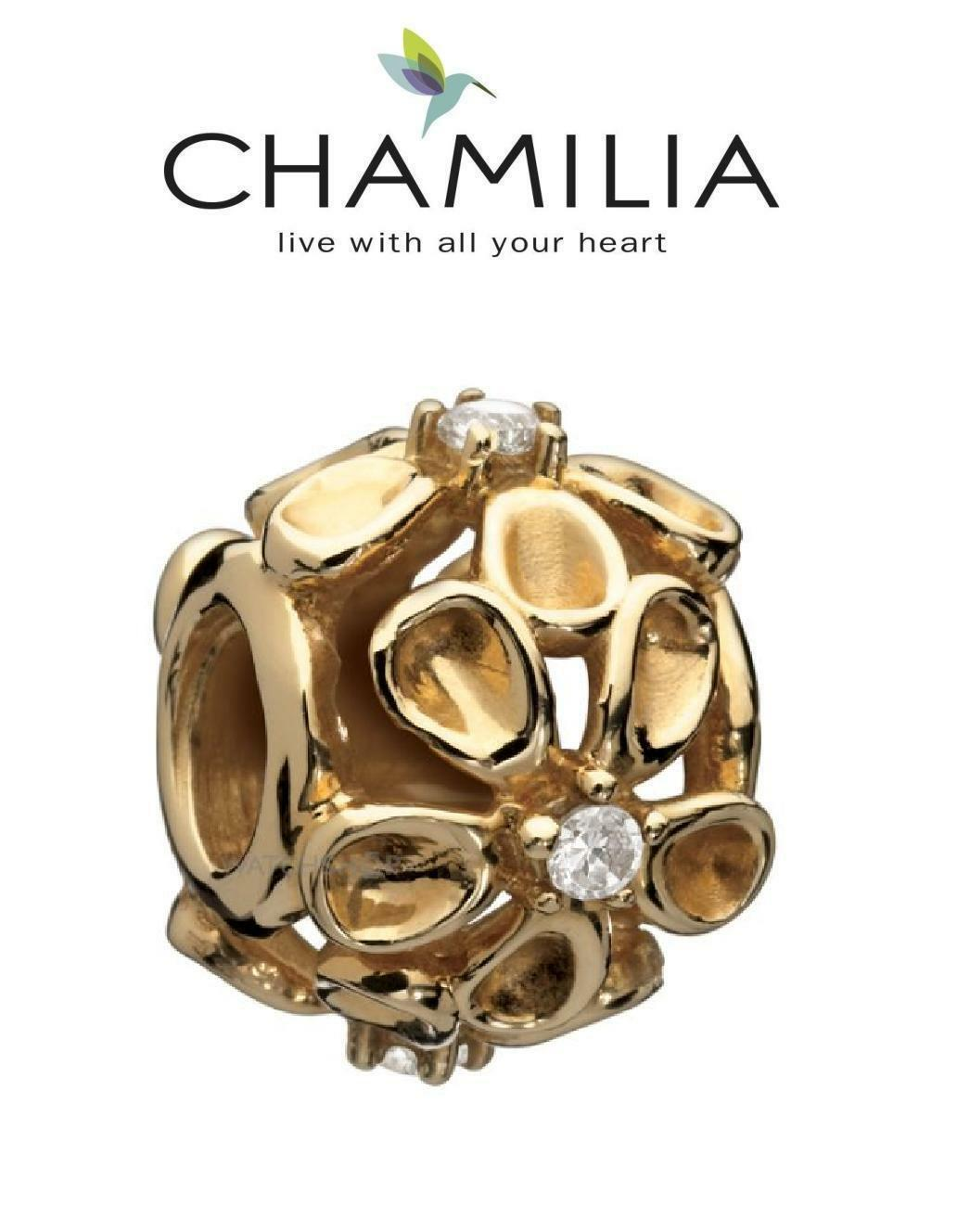 Boxed Genuine CHAMILIA solid 14k gold DAZZLING DAISY flowers charm bead RRP