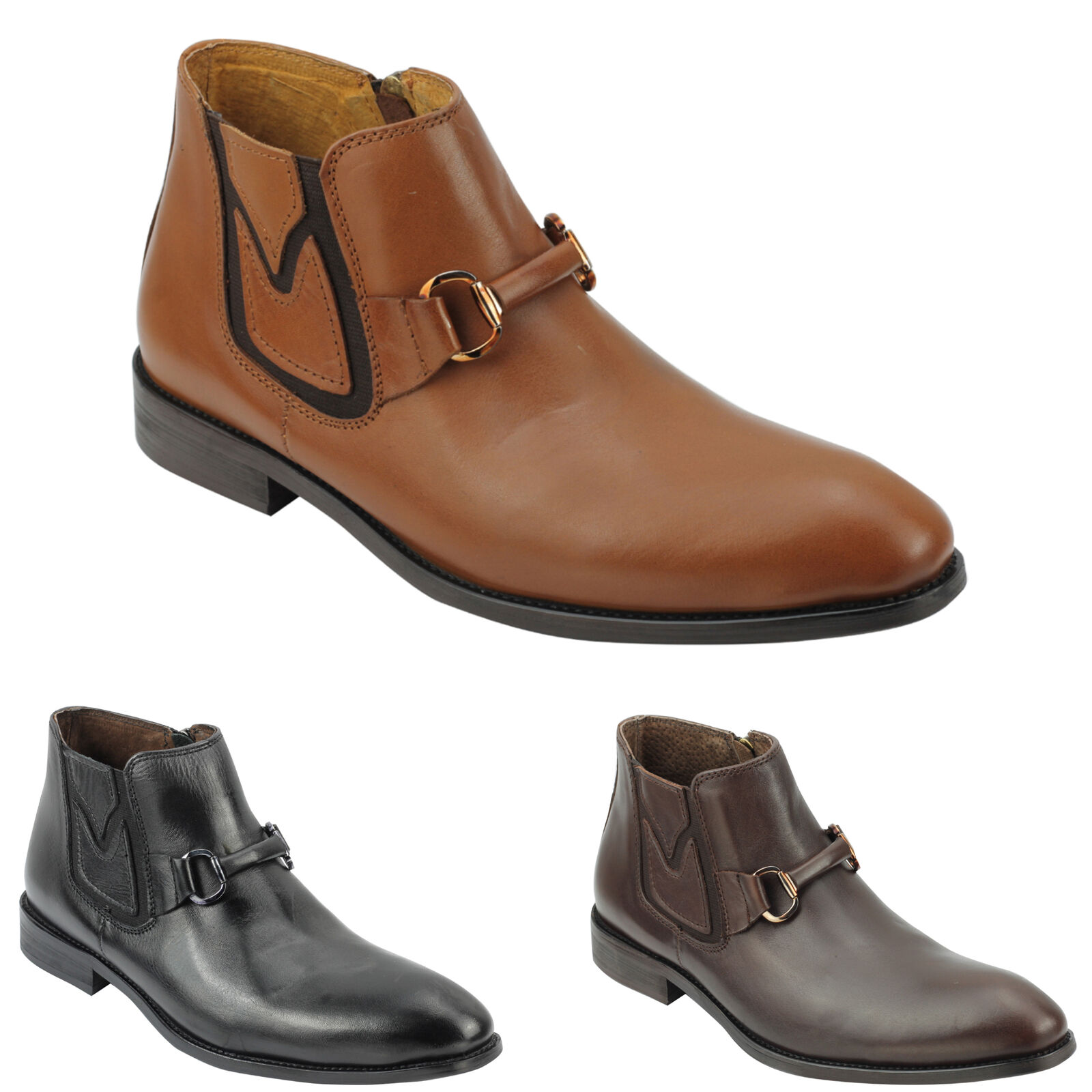 Mens Designer Slip On Smart Casual Real Leather Sleek Chelsea Zipped Ankle Boots