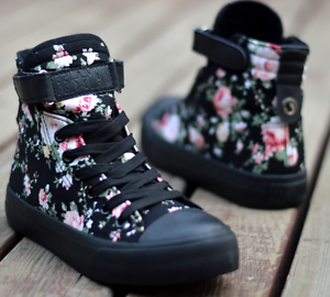Womens-Sneakers-Flat-Lace-Up-Canvas-Shoes-Girls-Floral-High-Top-Trainers-Chic-SZ