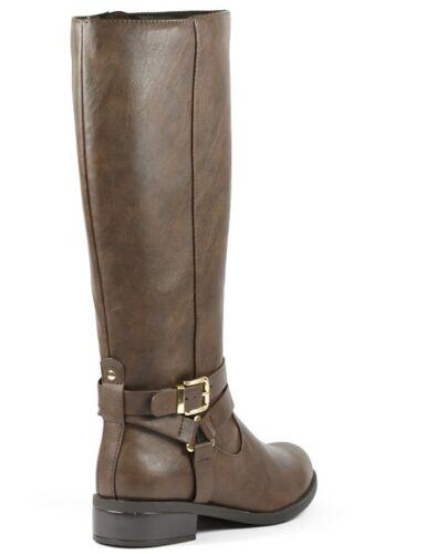 Faux Leather Fashion Knee High w Side Zipper Buckle Strap Riding Boot Soda Hiro