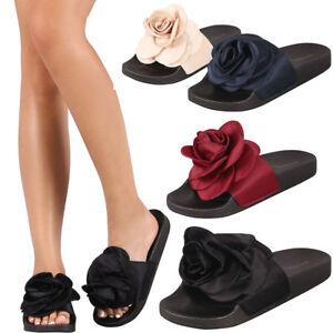 f0b26471d4e992 Womens Oversized Rose Flower Open Toe Slide Flat Sandal Flip Flops ...