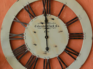 Large-Rustic-034-Colorado-034-Wood-Iron-Metal-Wall-Clock-BRAND-NEW