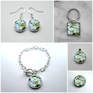 Forget Me Not Photo Art Earrings Bracelet Pendant Brooch Keyring Jewellery