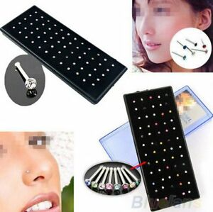60Pcs-Crystal-Rhinestone-Bone-Stud-Stainless-Steel-Body-Piercing-Nose-Jewelry