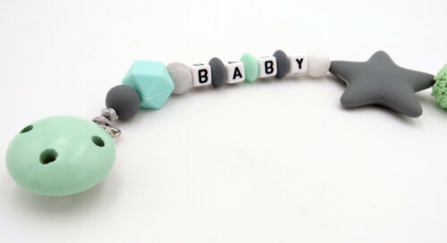 FREE Personalized Name Dummy Clip Silicone Bead Pacifier Holder Smoother Clips