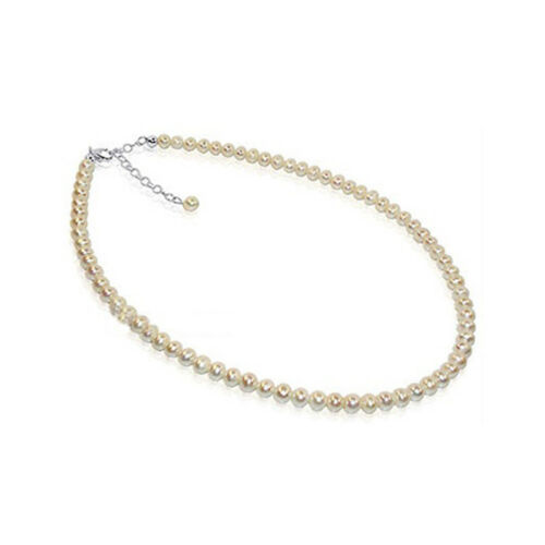 Sterling Silver White Natural Freshwater Pearl Single Strand 6mm Beaded Necklace