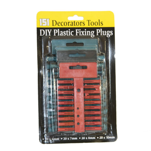 Assorted Sizes Heavy Duty Wall Plugs Set of 80 Pieces Raw Plug Fixing Plastic