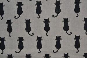 Tissu-ameublement-fantaisie-petits-chats-noirs-disponible-au-metre