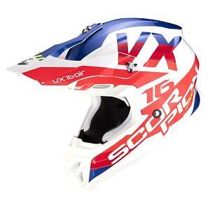 SCORPION-CASQUE-VX-16-AIR-X-TURN-TOUT-TERRAIN-TT-MX-Blanc-Rouge