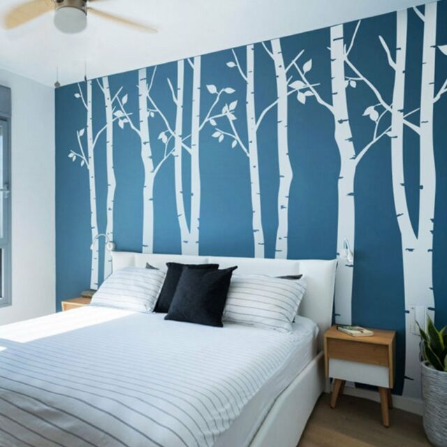 N.SunForest 8ft White Birch Tree Vinyl Wall Decals Nursery Forest Family Tree : blue wall decals - www.pureclipart.com