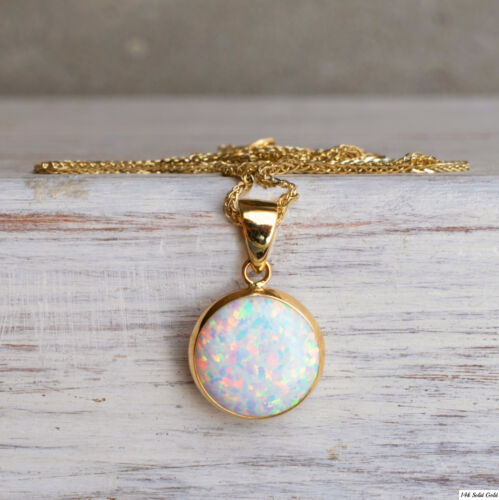 White Opal Pendant 14K SOLID YELLOW GOLD 12 mm Round October Birthstone