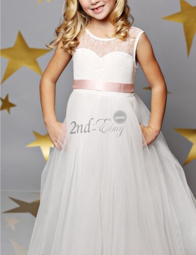White Flower Girl Dress Wedding Bridesmaid Gown Party Pageant Princess Formal