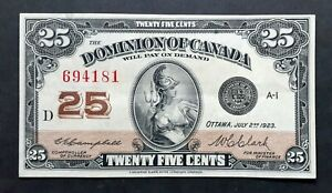 1923-Dominion-of-Canada-25-Cents-Shinplaster-Campbell-amp-Clark-Signature-DC-24d