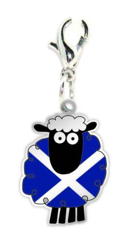 Oveja escocesa Andrés bandera de dibujos animados clip en pulsera con dijes collar de regalo
